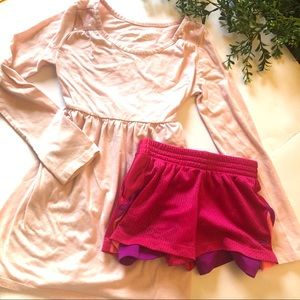 Girl pink dress and athletic shorts size 6/7